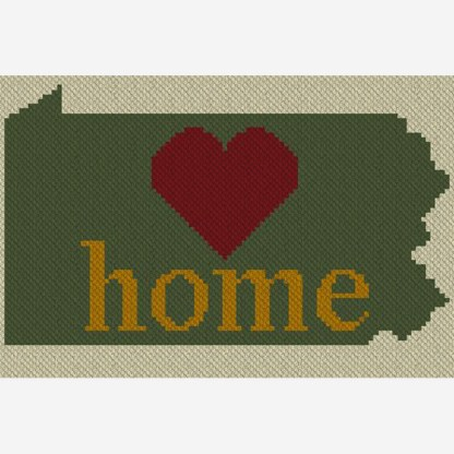 Pennsylvania Home C2C Afghan Crochet Pattern for Corner to Corner CrossStitch Graphghan Blue Frog Creek