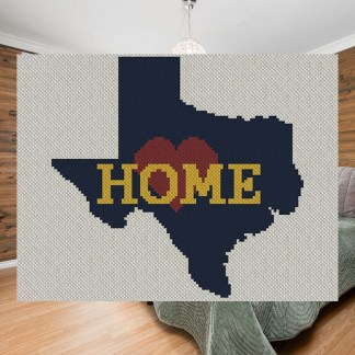 Texas Home C2C Afghan Crochet Pattern Corner to Corner Cross-Stitch Graphghan Blue Frog Creek