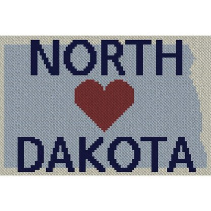 Heart North Dakota C2C Afghan Crochet Pattern Corner to Corner Graphghan Cross Stitch Blue Frog Creek