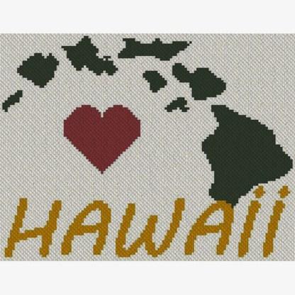 Heart Hawaii C2C Afghan Crochet Pattern Corner to Corner Cross Stitch Graphghan Blue Frog Creek