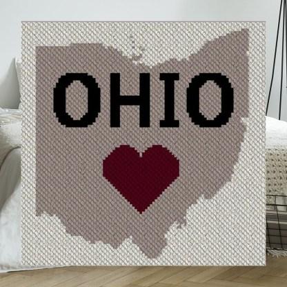 Heart Ohio C2C Afghan Crochet Pattern Corner to Corner Graphghan Cross Stitch Blue Frog Creek