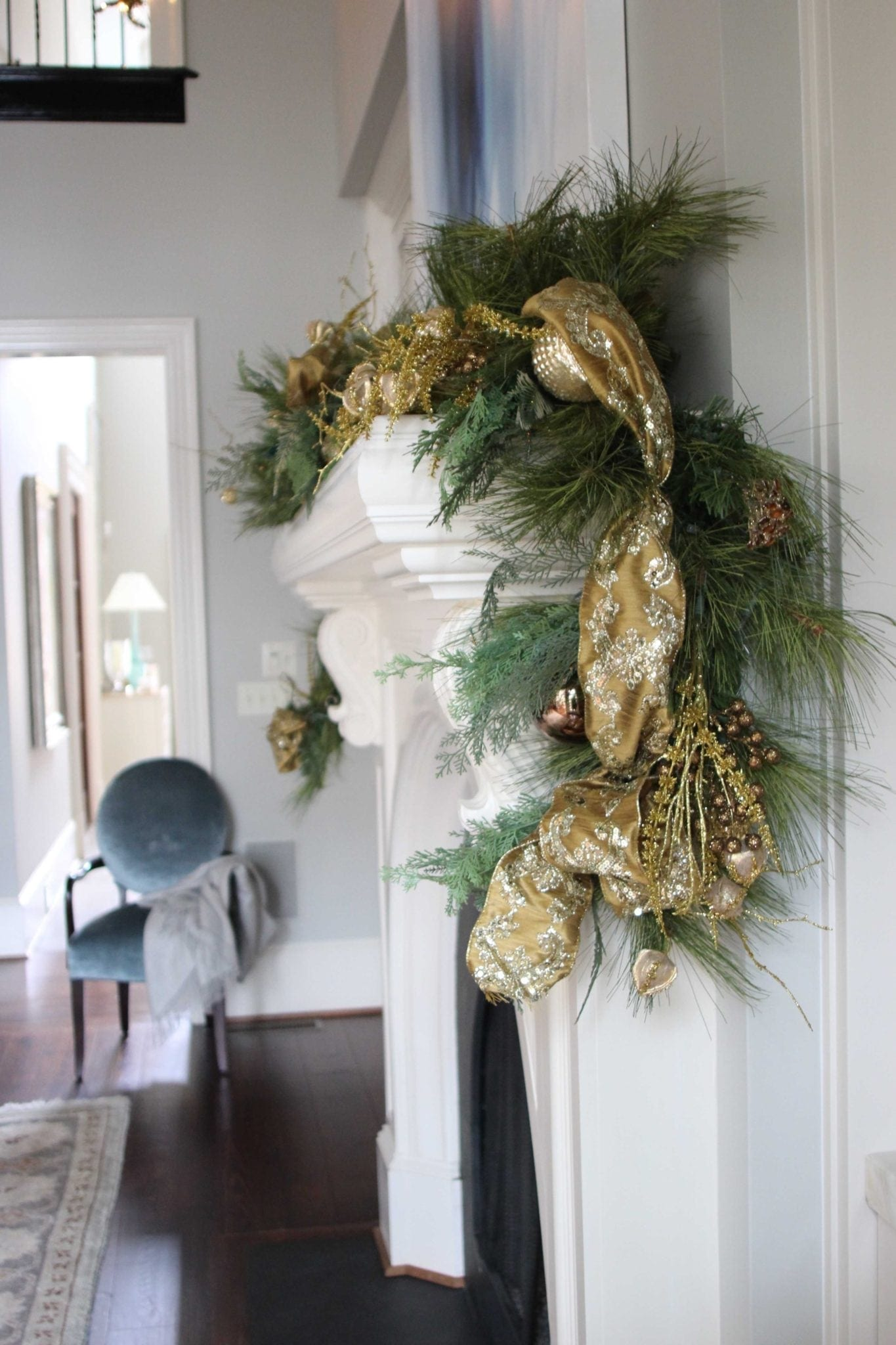 Frontgate gold garland for formal dining room holiday decor.