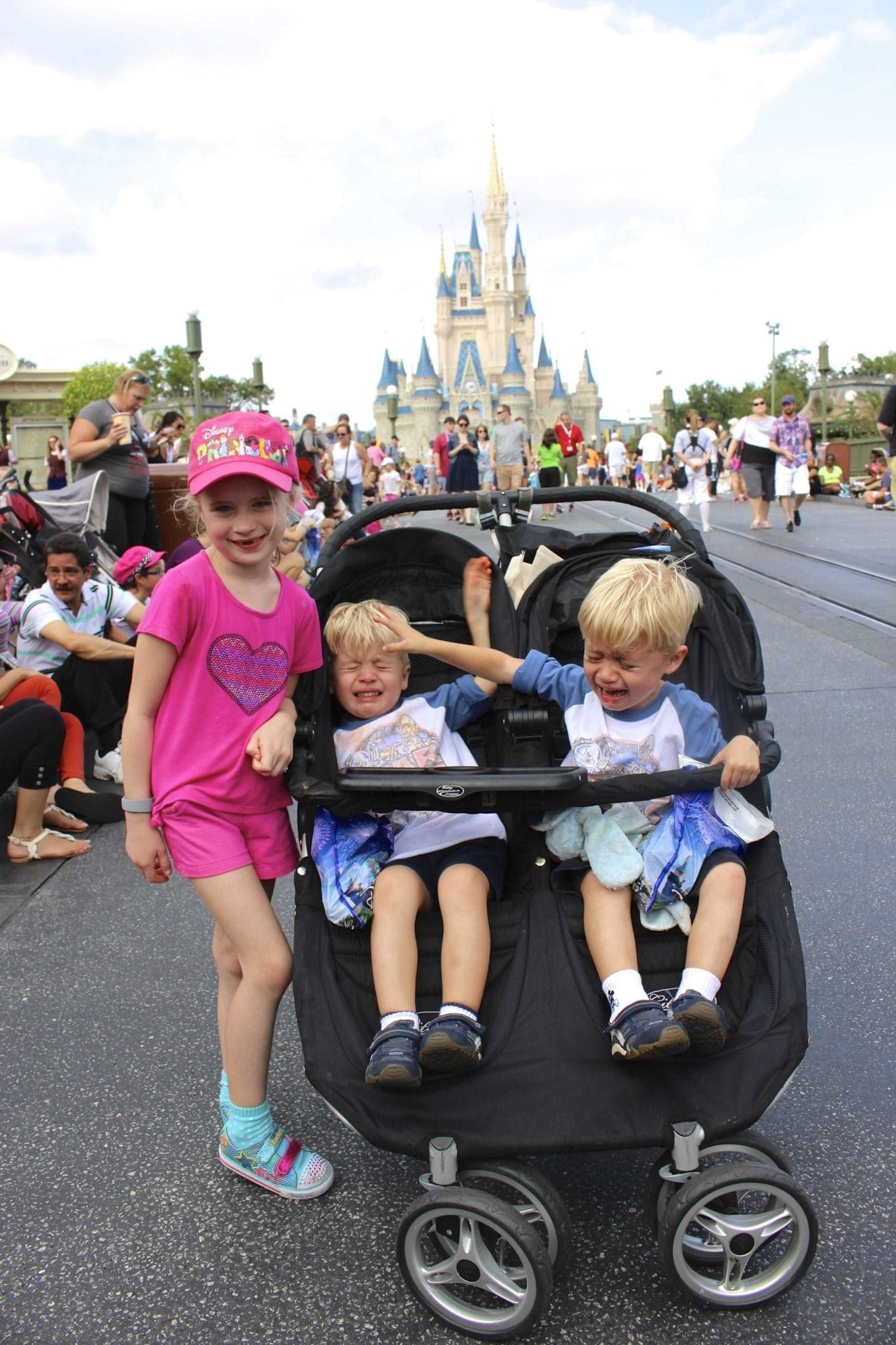 Kids melting down on Main Street at the Walt Disney World Magic Kingdom. Funny tips from a Mom on how to plan a trip to Disney.