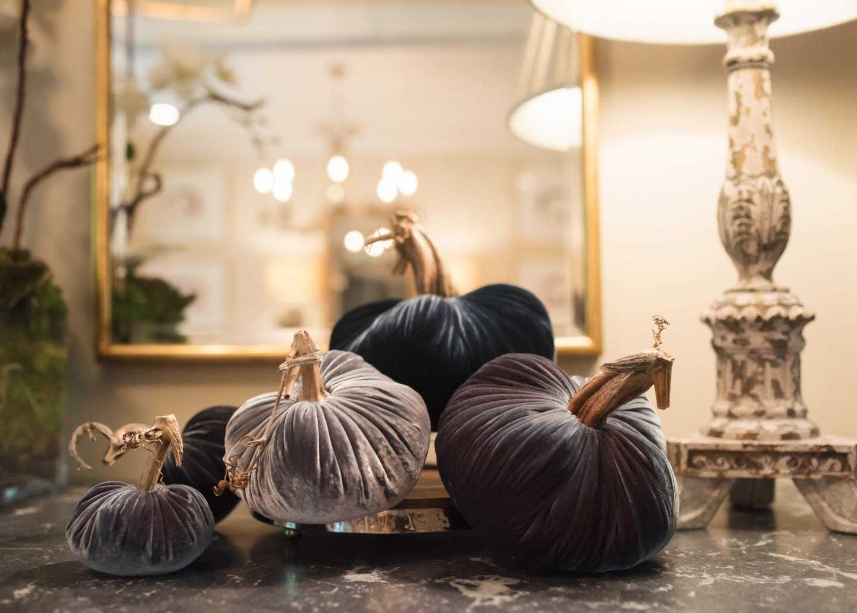 Velvet pumpkins for formal Thanksgiving holiday.