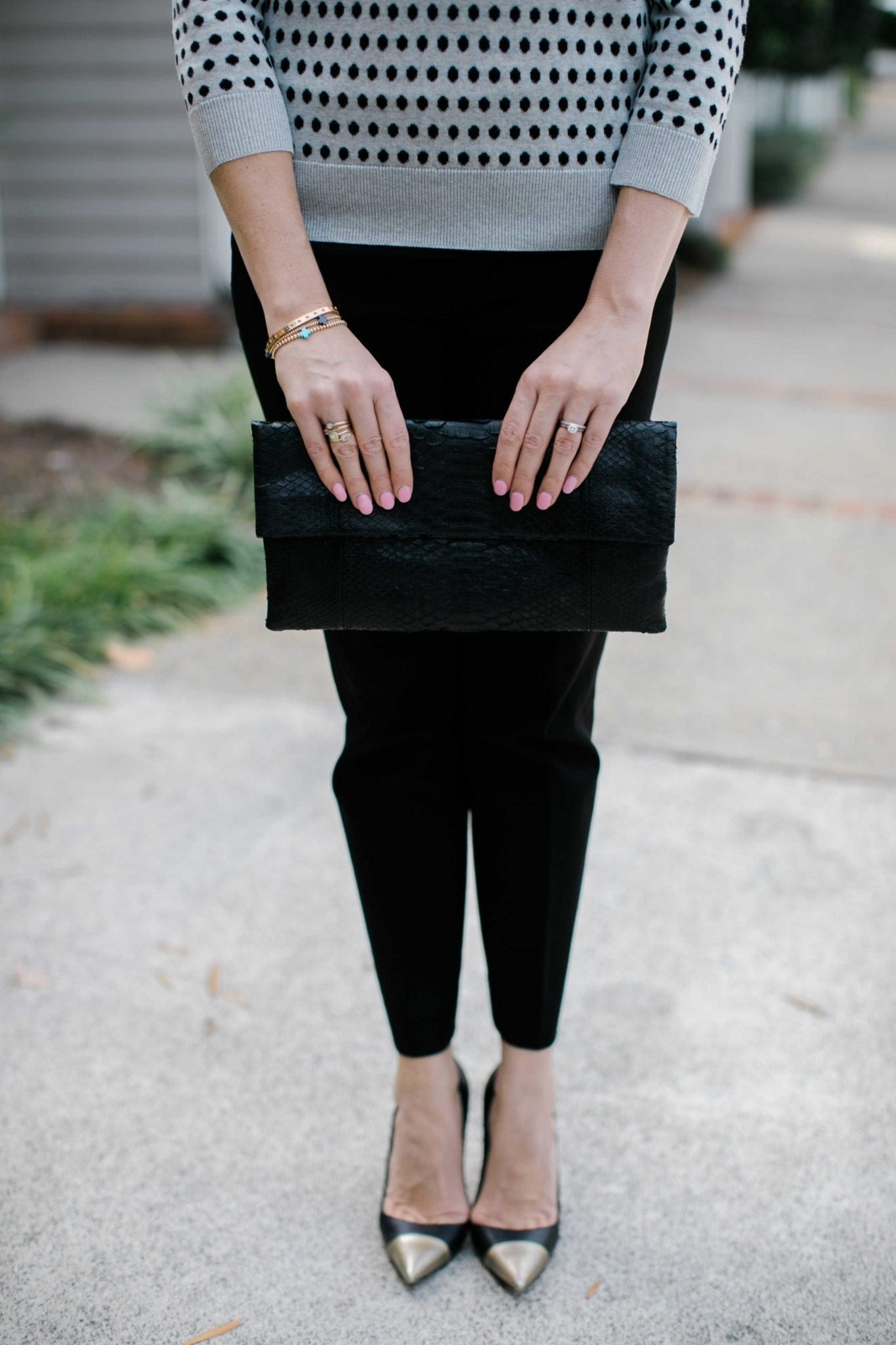 black envelope clutch with manolo blank black heals with gold toe