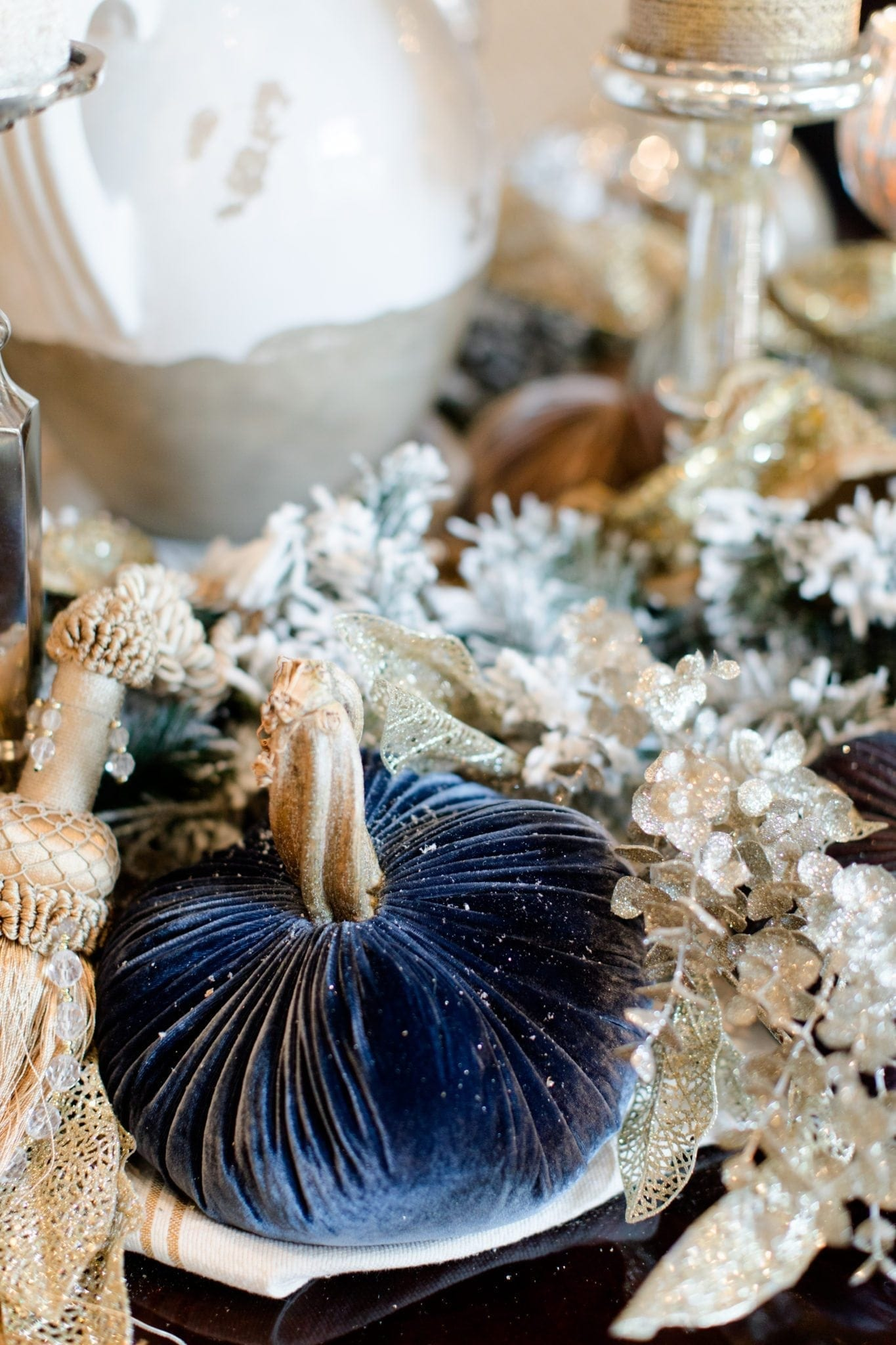 Blue pumpkin decor. Unique fall decorations.