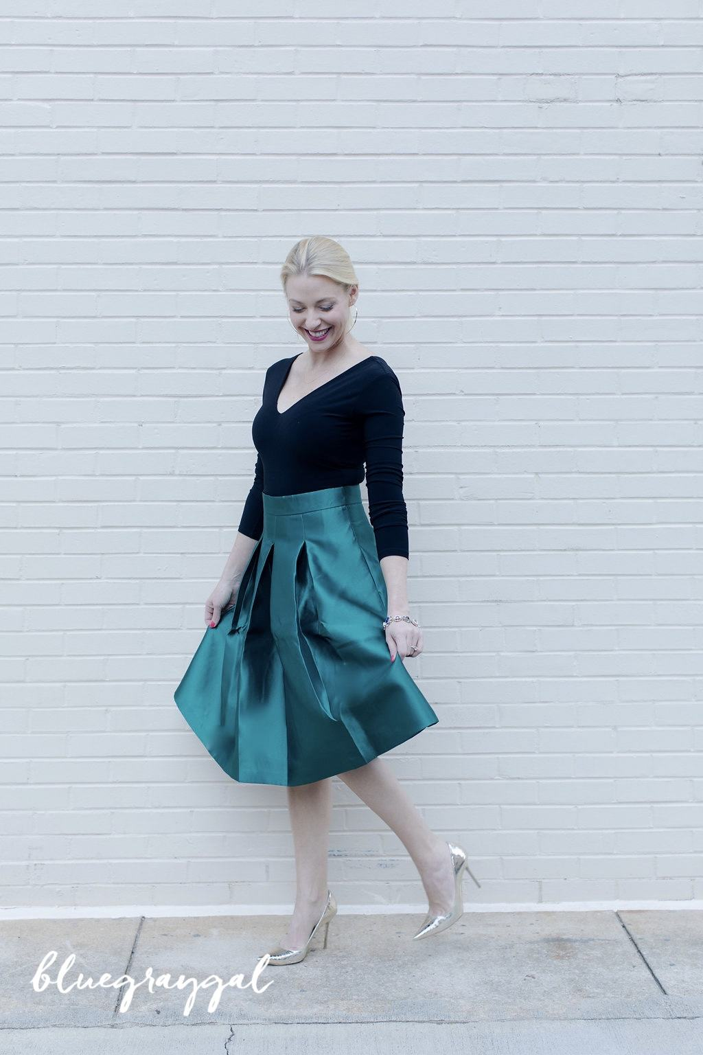 green full satin skirt with alice and olivia bodysuit and jimmy choo snakeskin shoes