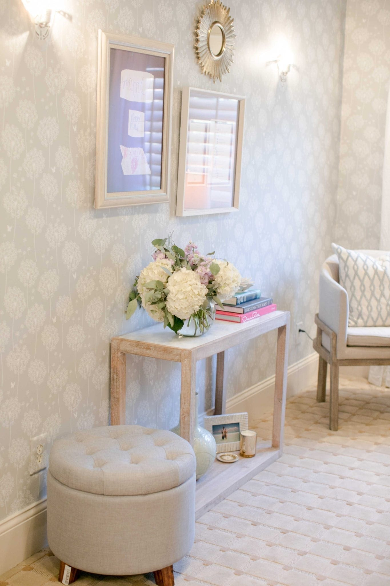 taupe floral wallpaper with white marble and washed wood console in light gray office. Chic on a shoestring decorating!