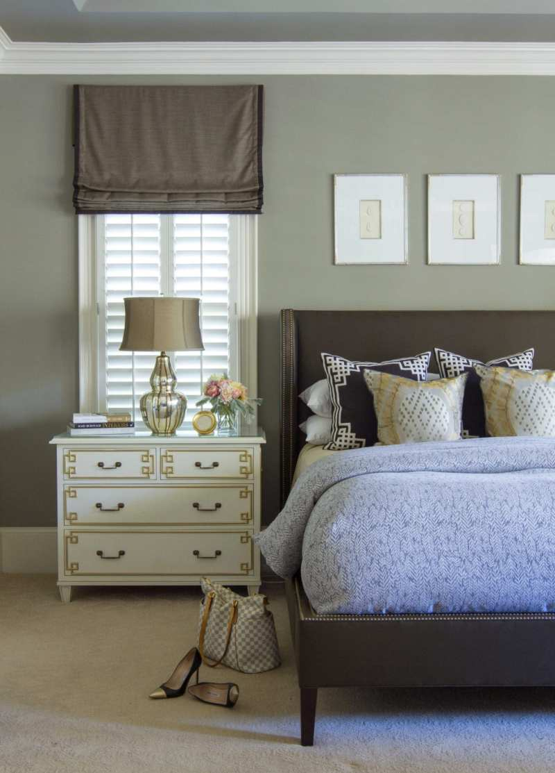 Classic gray paint in a luxury master bedroom photo taken by Jessie Preza with gray silk and ivory greek key consoles and gray benjamin moore wall paint.