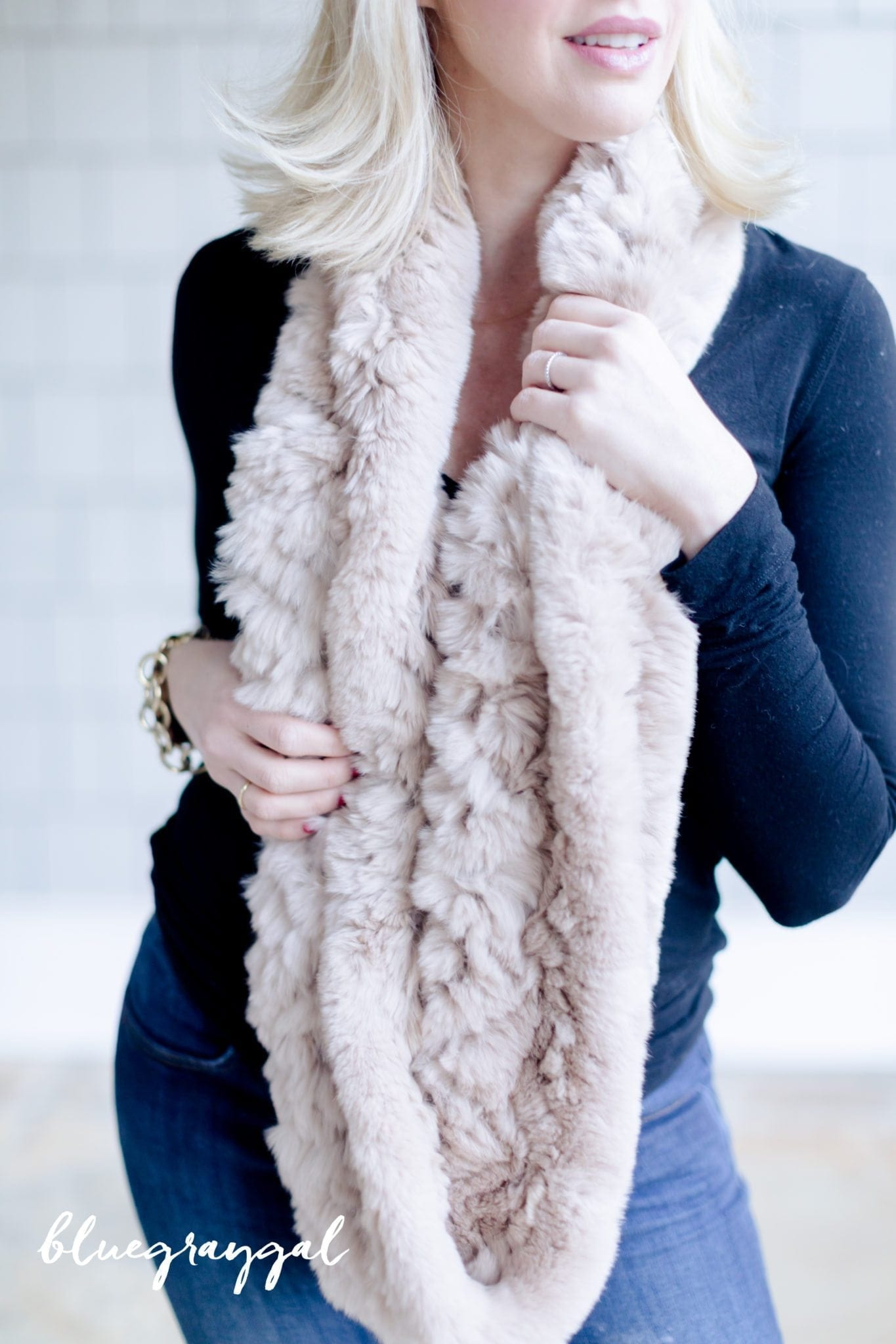 Infinity scarf made out of fur.