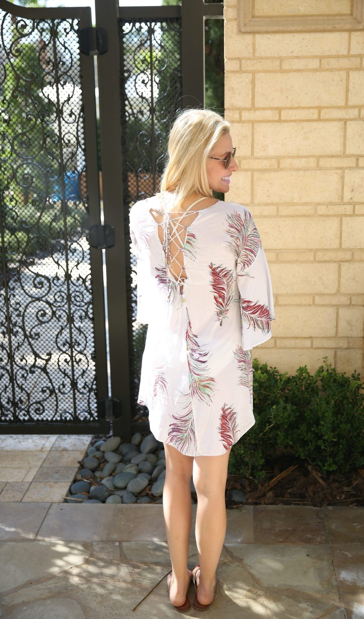 Vix bathing suit coverup with lace up back and oliver peoples sunglasses by four seasons orlando adult only pool