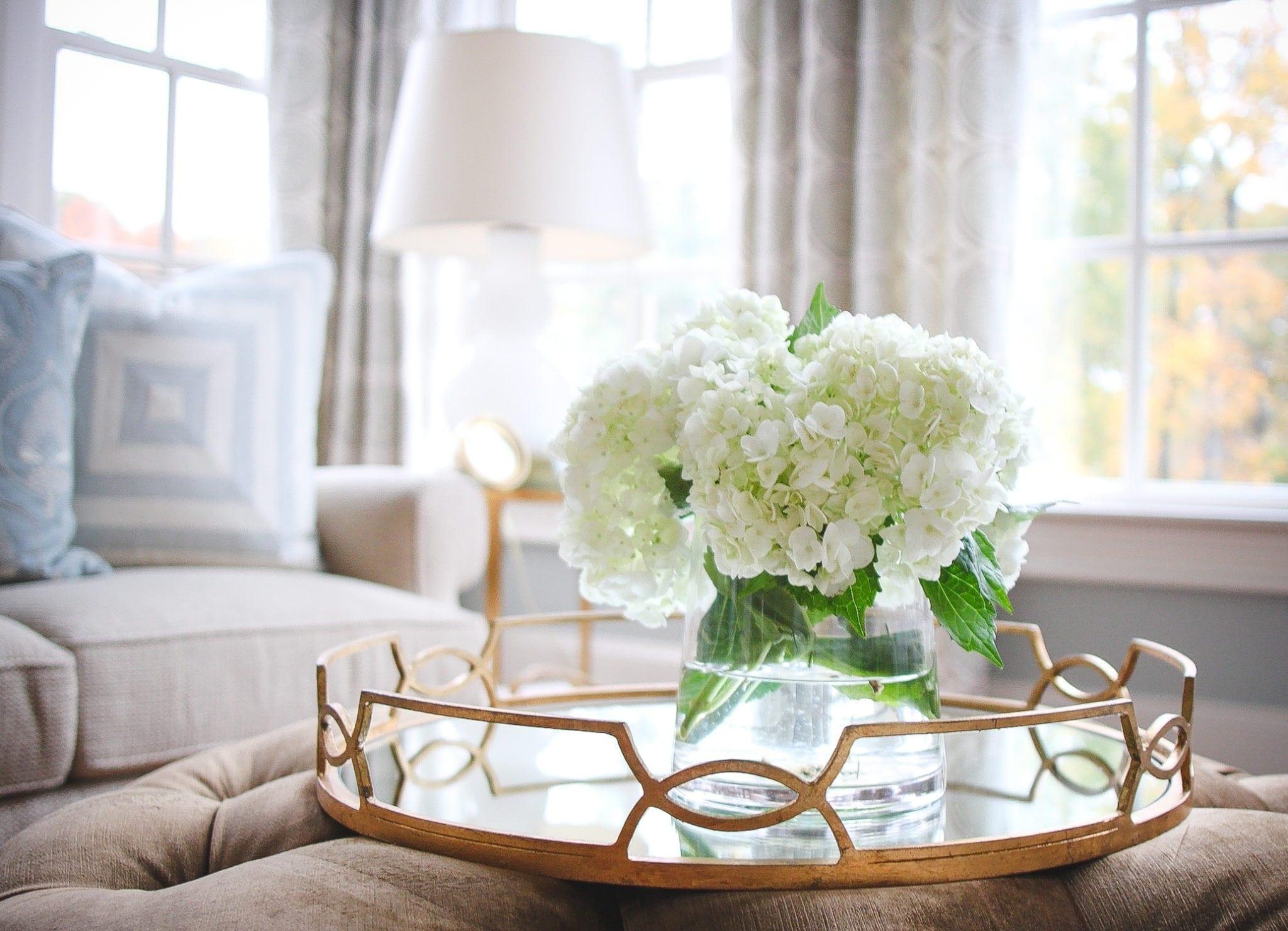 All white hydrangea flower arrangement in light blue living room.