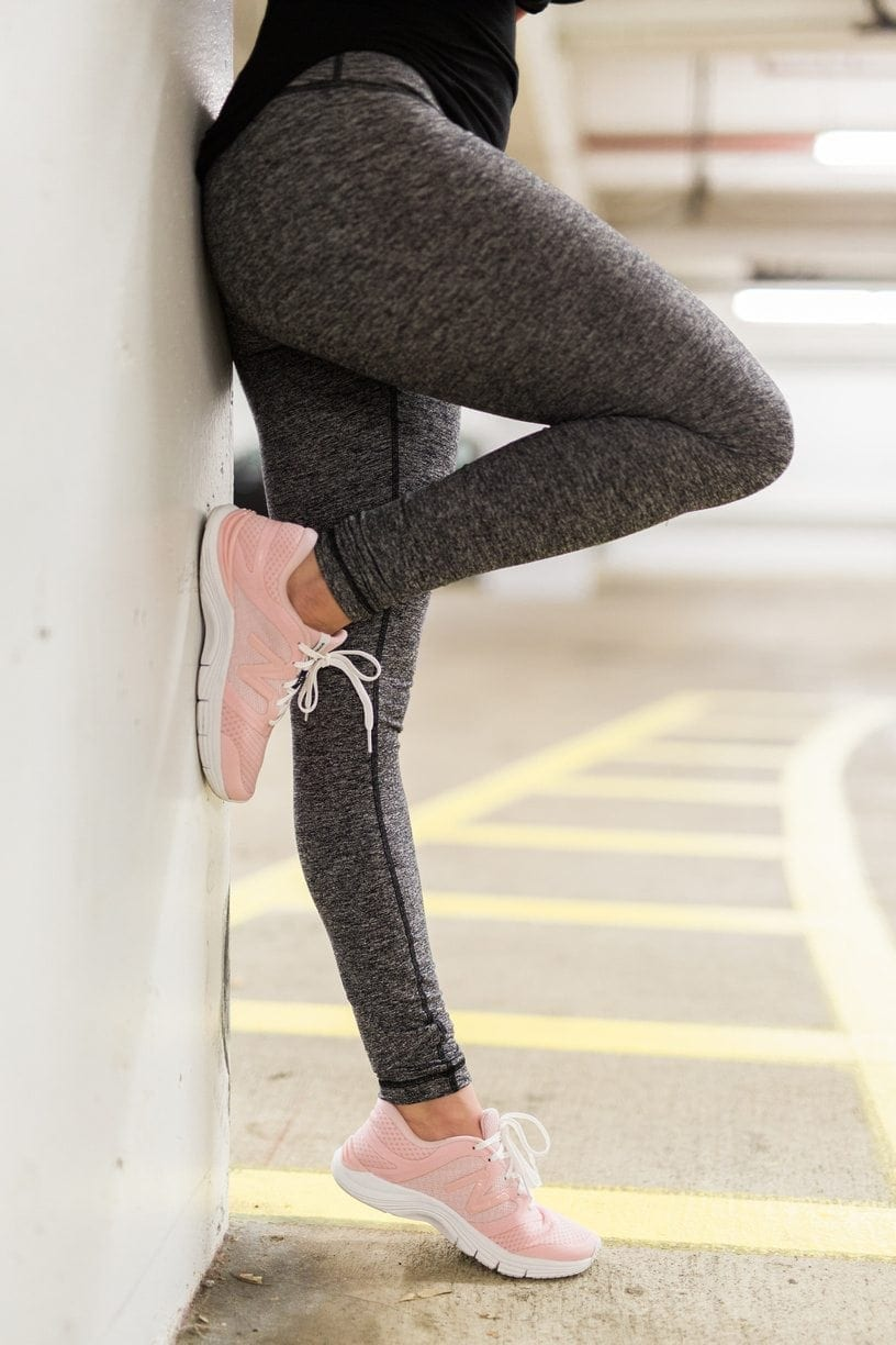 Pink sneakers. Cool shoes for working out in.
