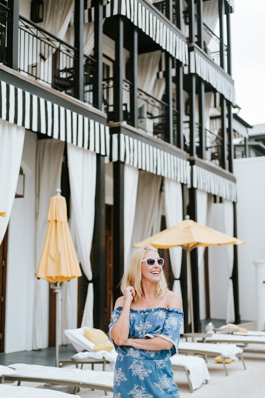 Summer style blue dress at Rosemary Beach hotel.