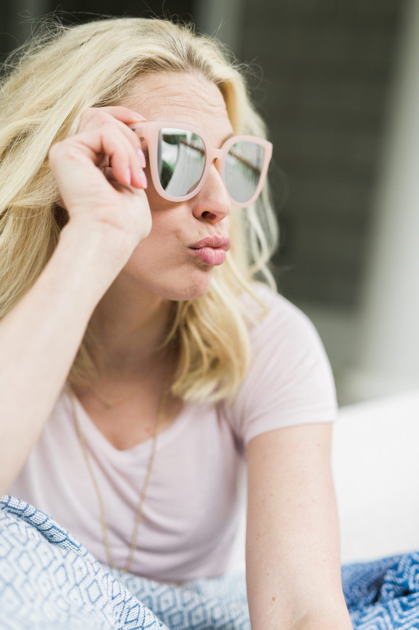 Pink mirrored sunglasses. These over sized sunglasses will hide any bad day when you don't feel like putting on make up or your eyes look tired! I love how they are mirrored!