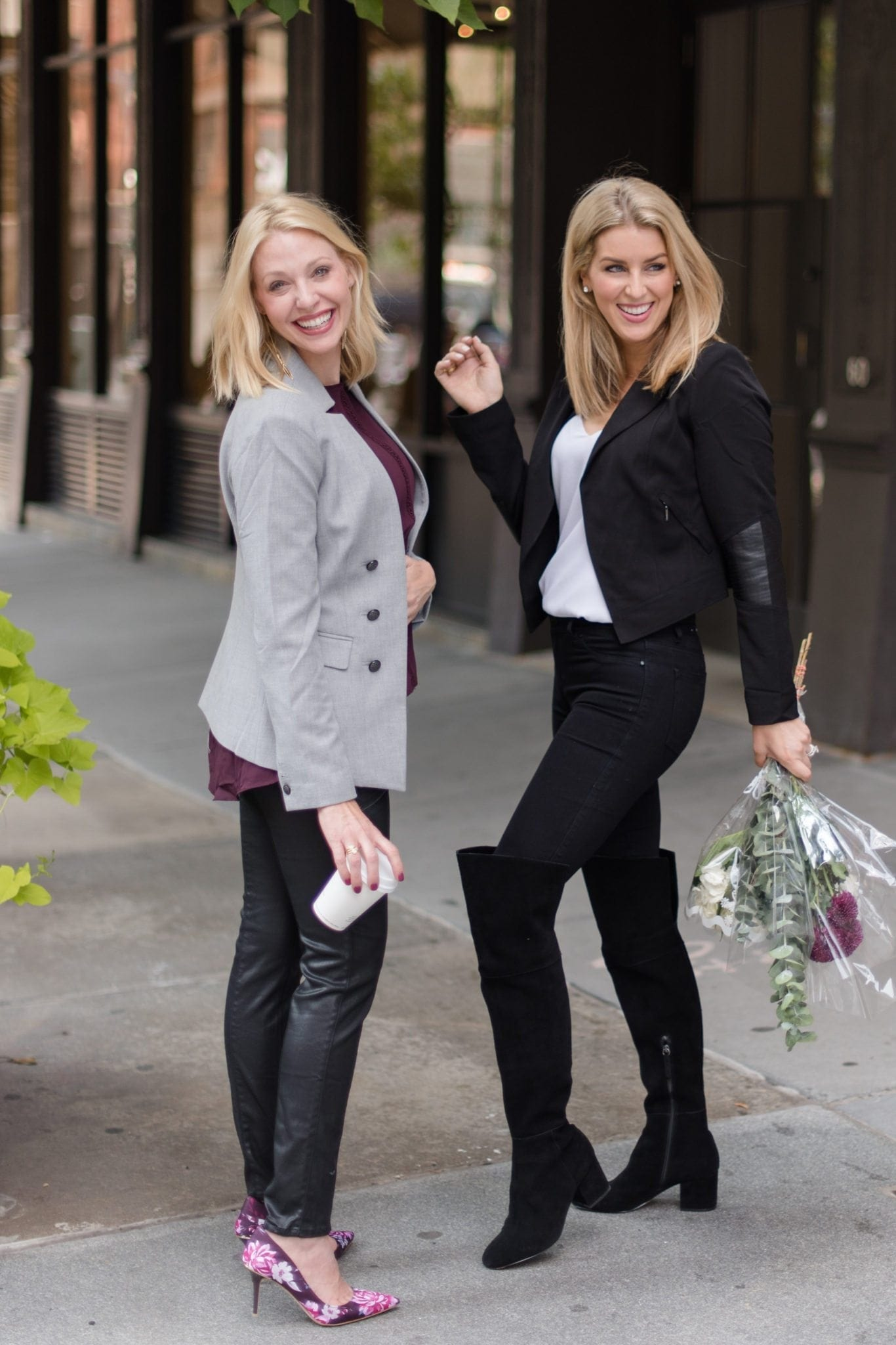 How to wear jackets. Gray notchless collar and black motorcycle jacket on Atlanta bloggers.