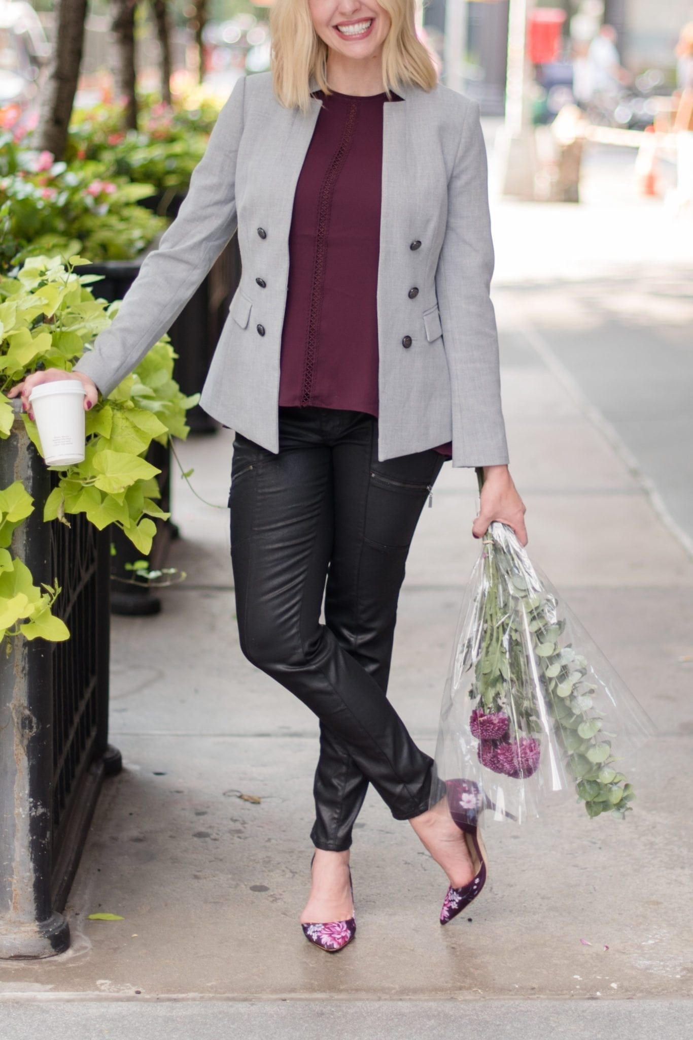 Cabernet color white house black market shirts. Fall work outfit ideas.