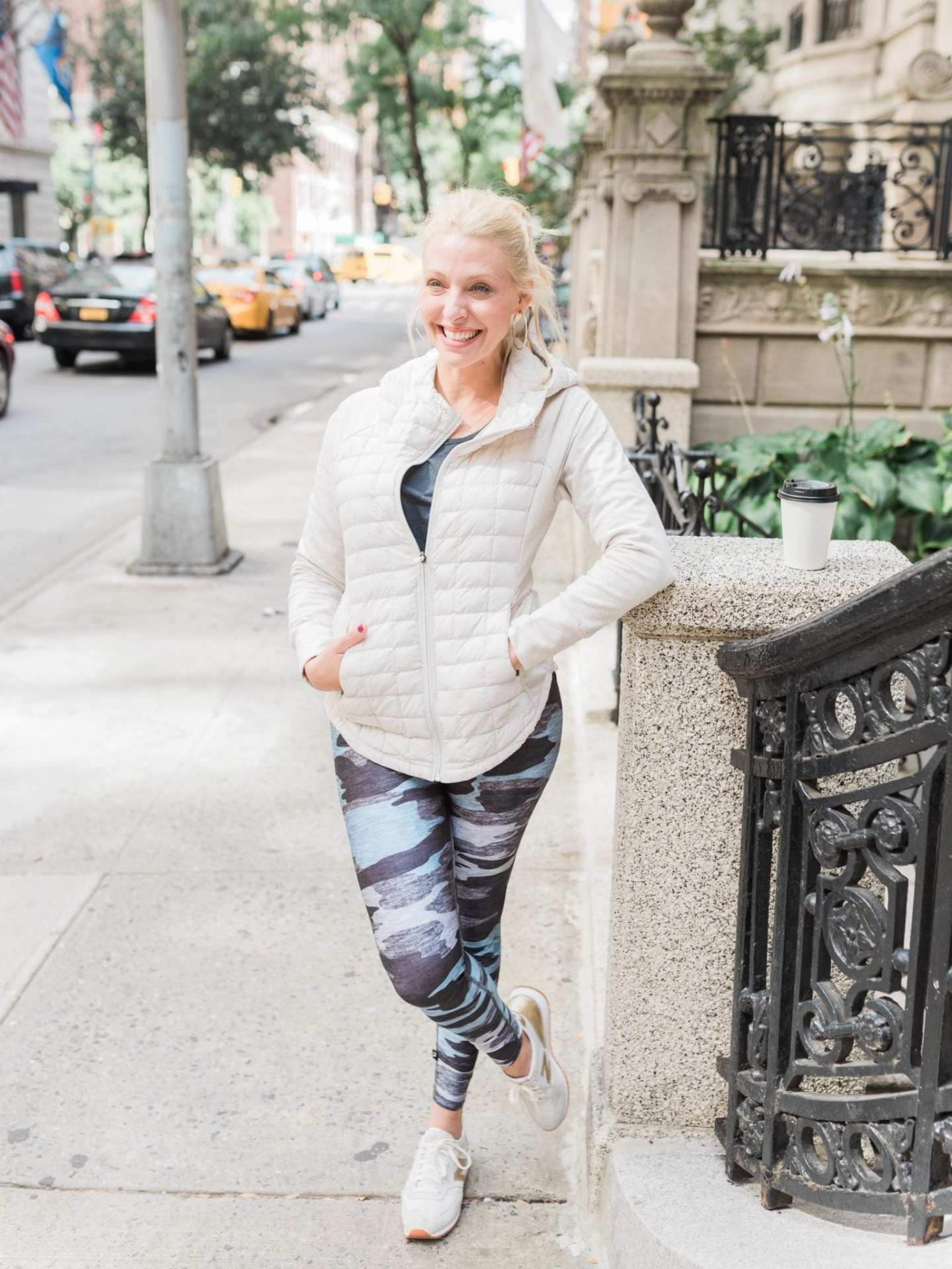 Camo leggings outfit with womens North Face lightweight jacket
