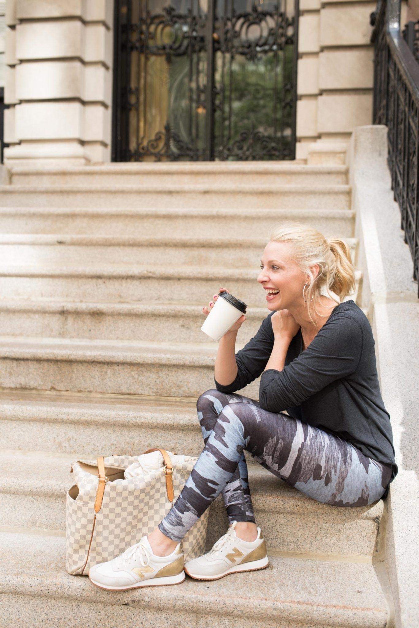 Terez Leggings in blue camo print. How to wear leggings running errands.