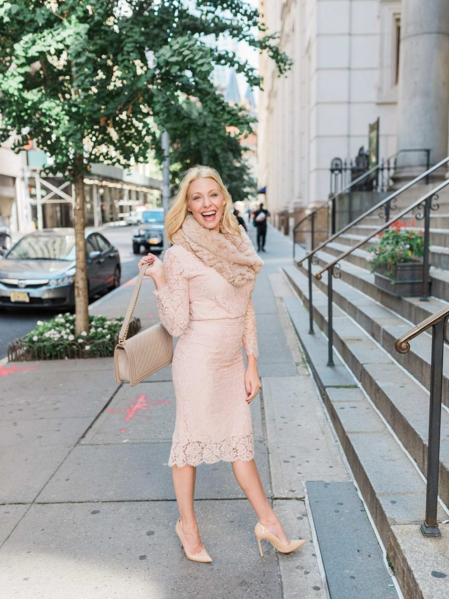 Kelly Page is an Atlanta blogger for bluegraygal brand. This is a review of a classic ladylike outfit in pink lace designed by Rachel Parcell.