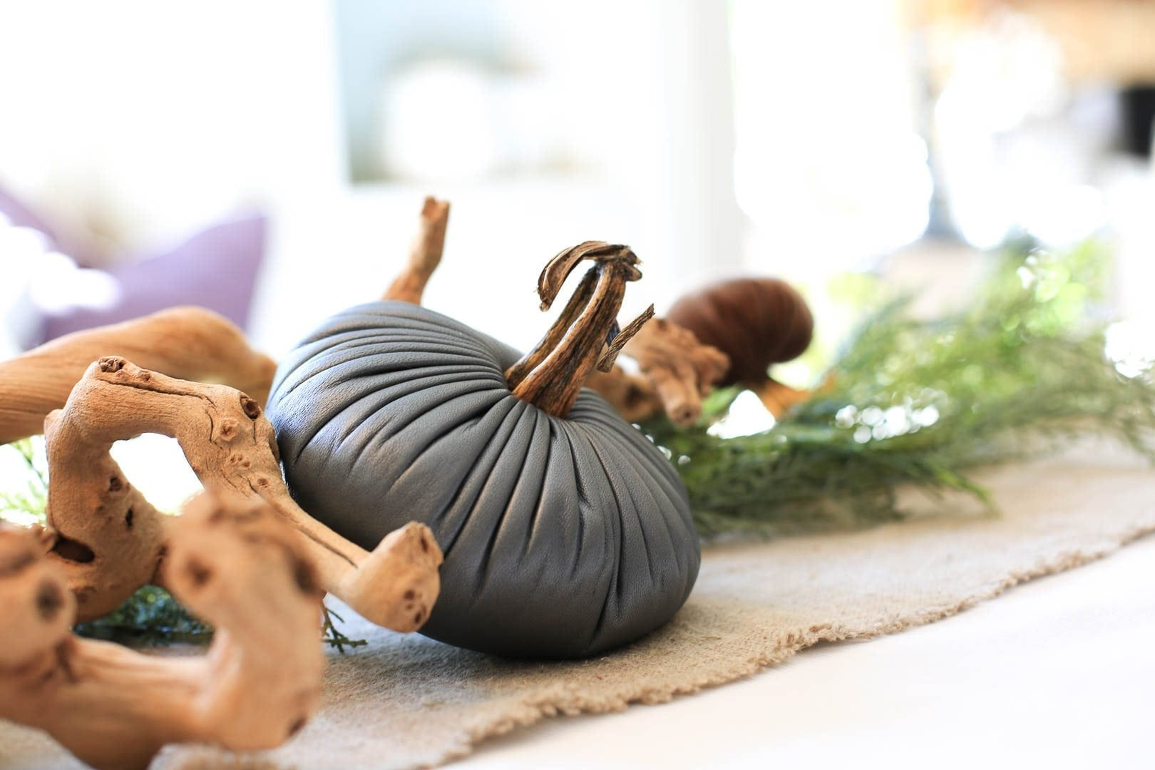 Blue pumpkin mixed with grapewood vine. Fall decorations for home