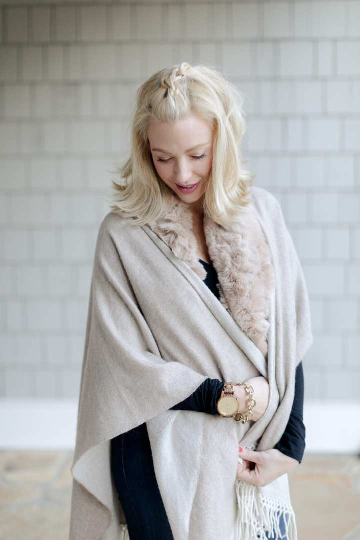 Fur infinity scarf and beige cashmere poncho.
