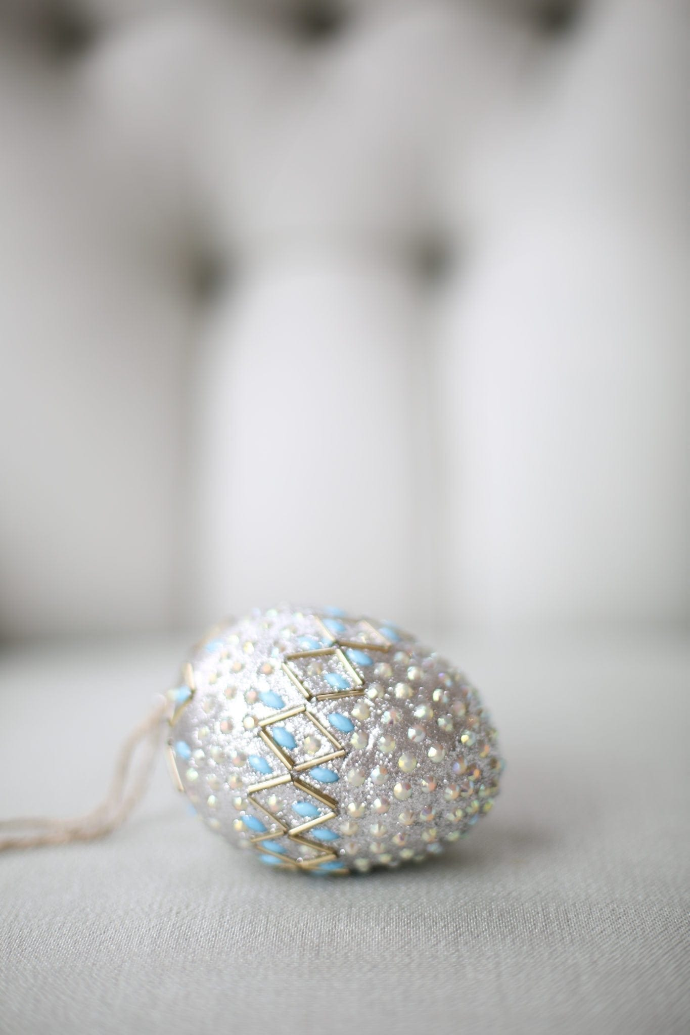 Blue and Silver Easter egg from Pottery Barn holiday decor line.