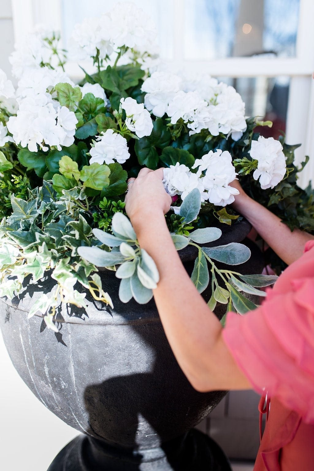 Tips to making silk flower arrangements for outside shady areas.