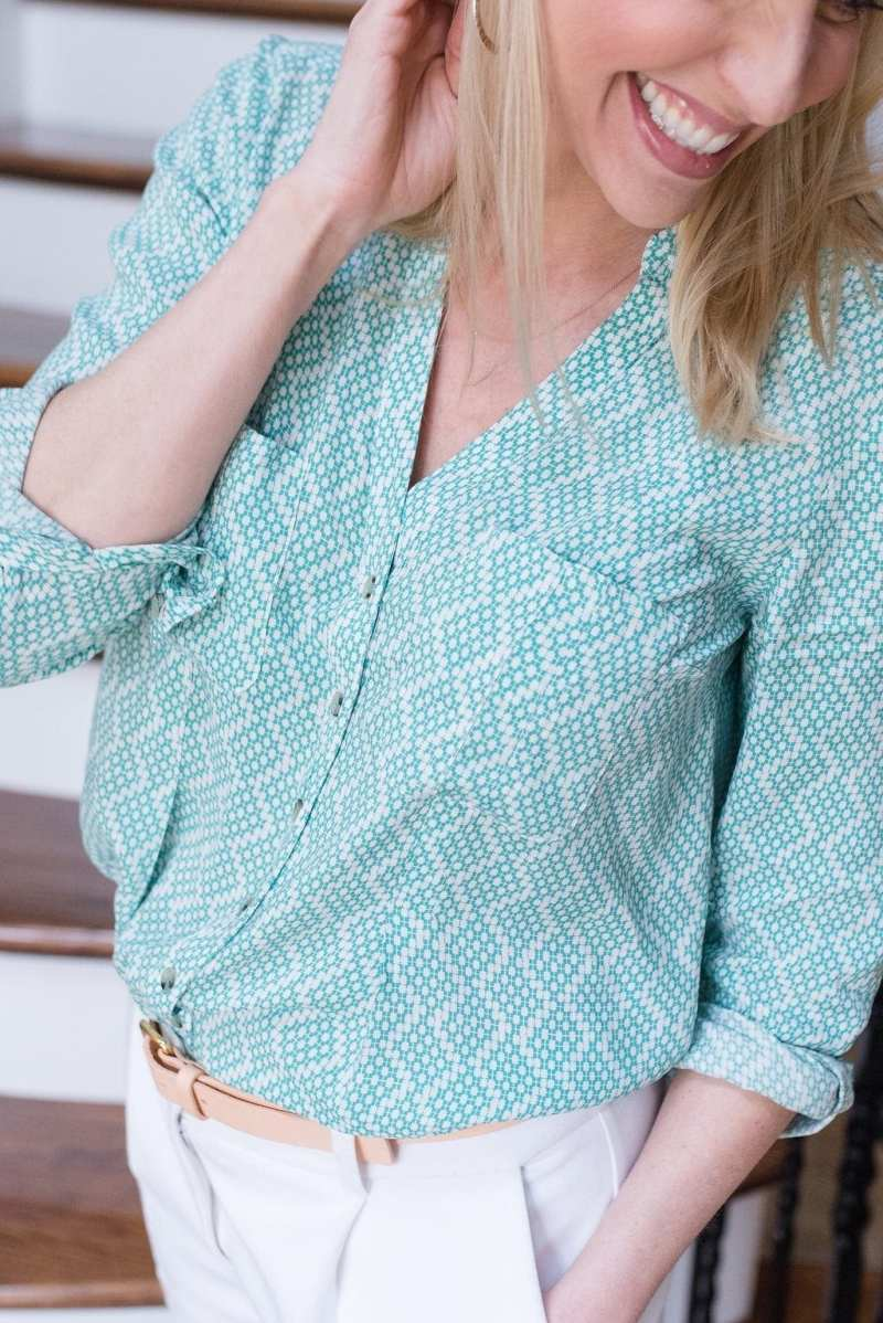 Anthropologie Rochelle blouse in green and white.