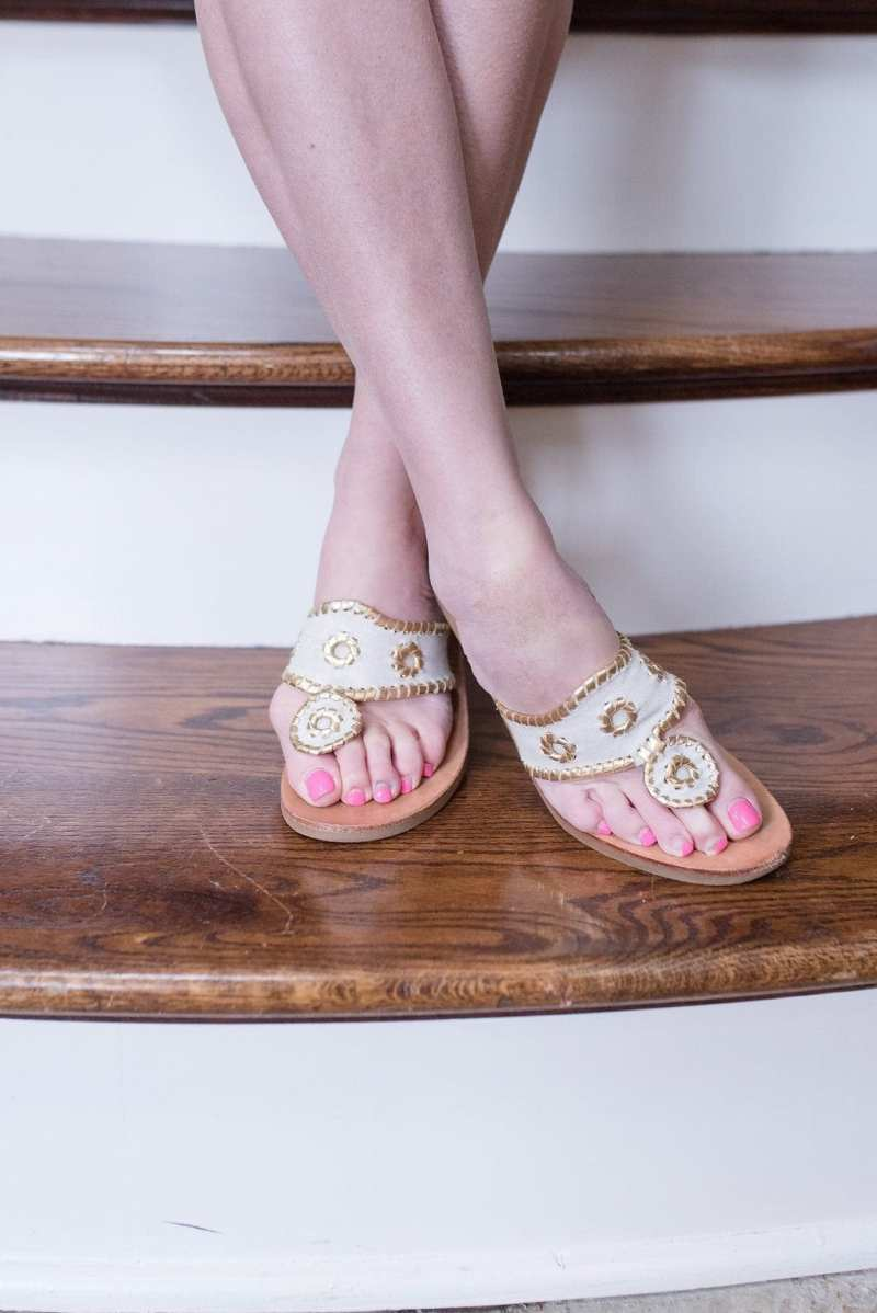 Jack Rogers Shoes in gold and white sandals. Pretty flip flops for summer.