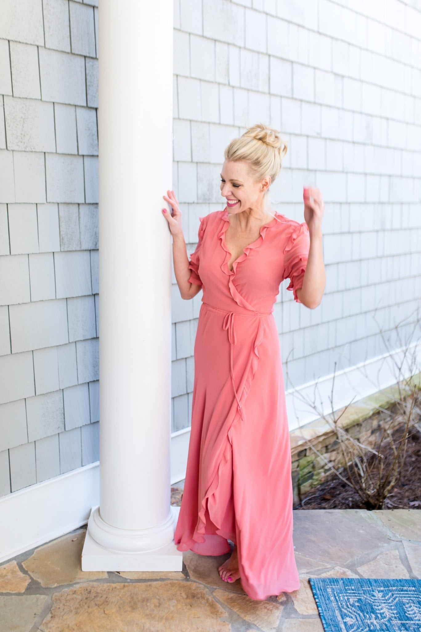 Cute ruffle maxi dress for vacation. Spring dress with ruffles and wrap tie.