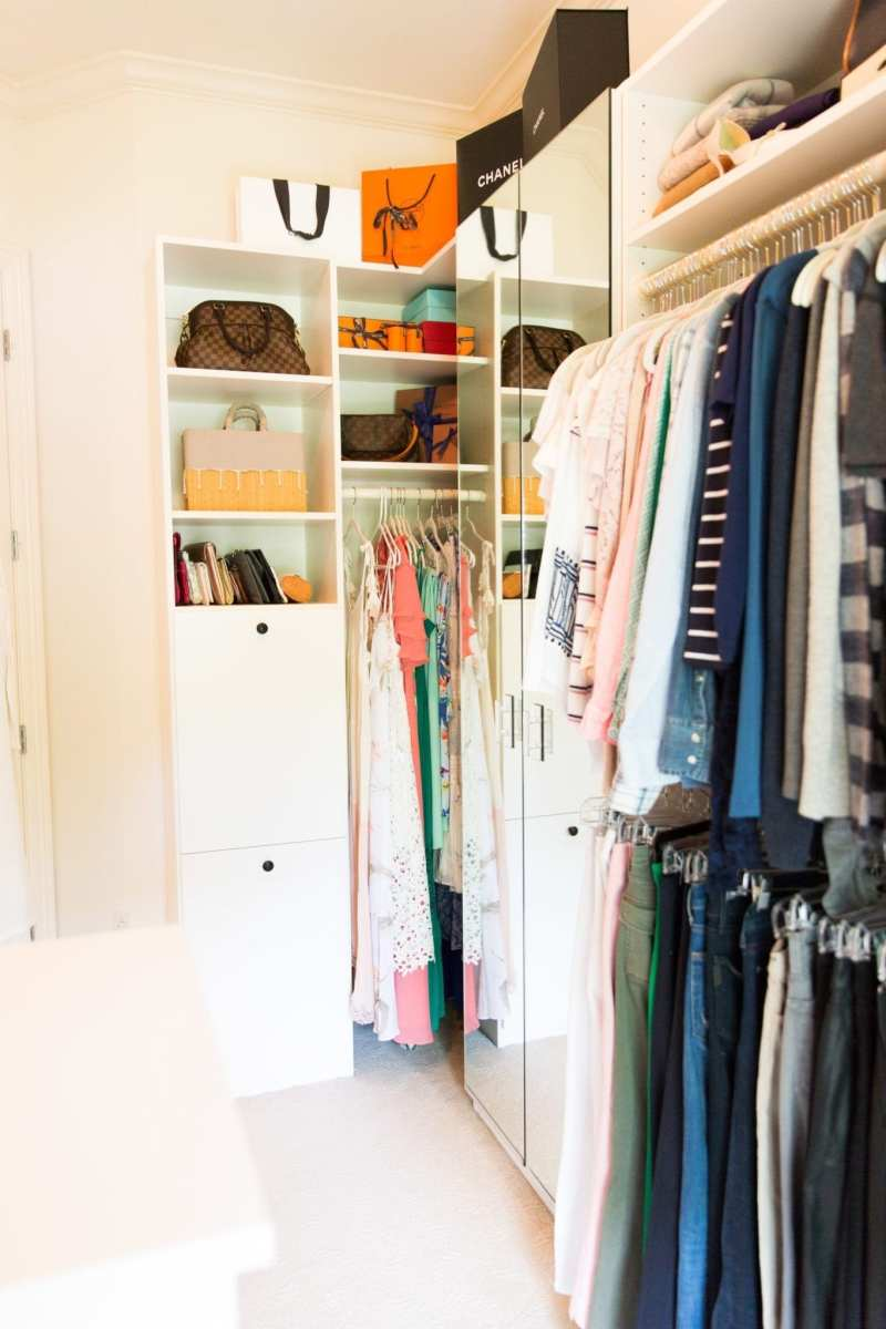 How to hang clothes and color code clothes in a closet.