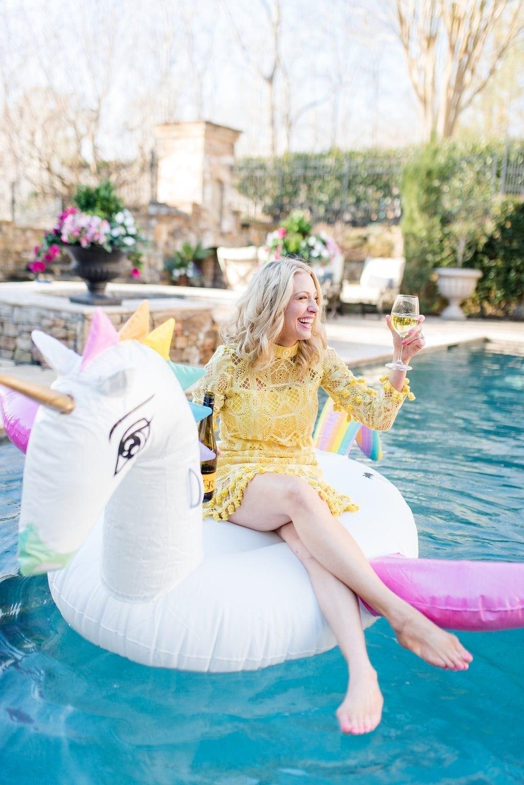 Rainbow unicorn pool float.