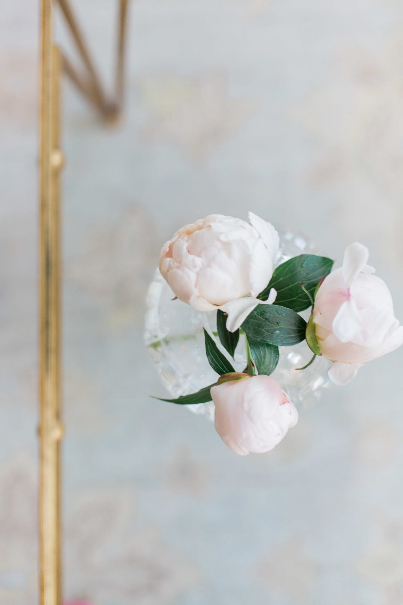 Pink Peonies bouquet in home of bluegraygal lifestyle blogger, Kelly Page.