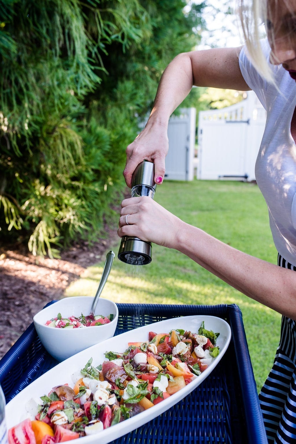 Caprese Salad and recipe. Easy to make recipes for summer entertaining.