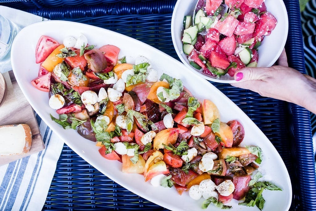 Easy Summer salad recipes. Brightly colored caprese salad and watermelon side dish.