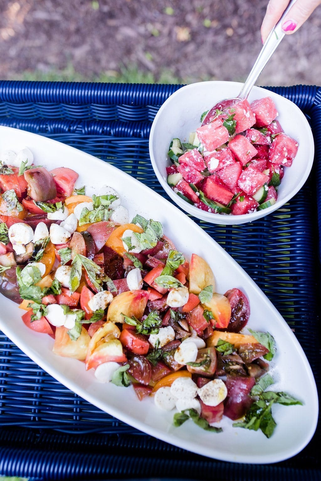 Watermelon and feta side dish. Cold side dish for outdoor entertaining.