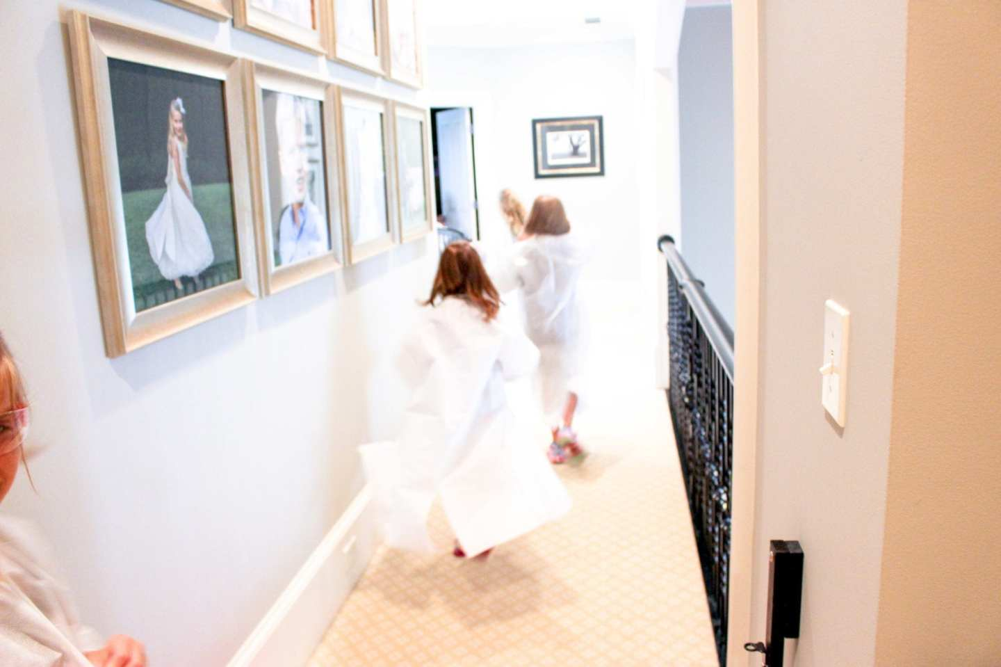 Science is fun! Kids running in throwaway lab coats.