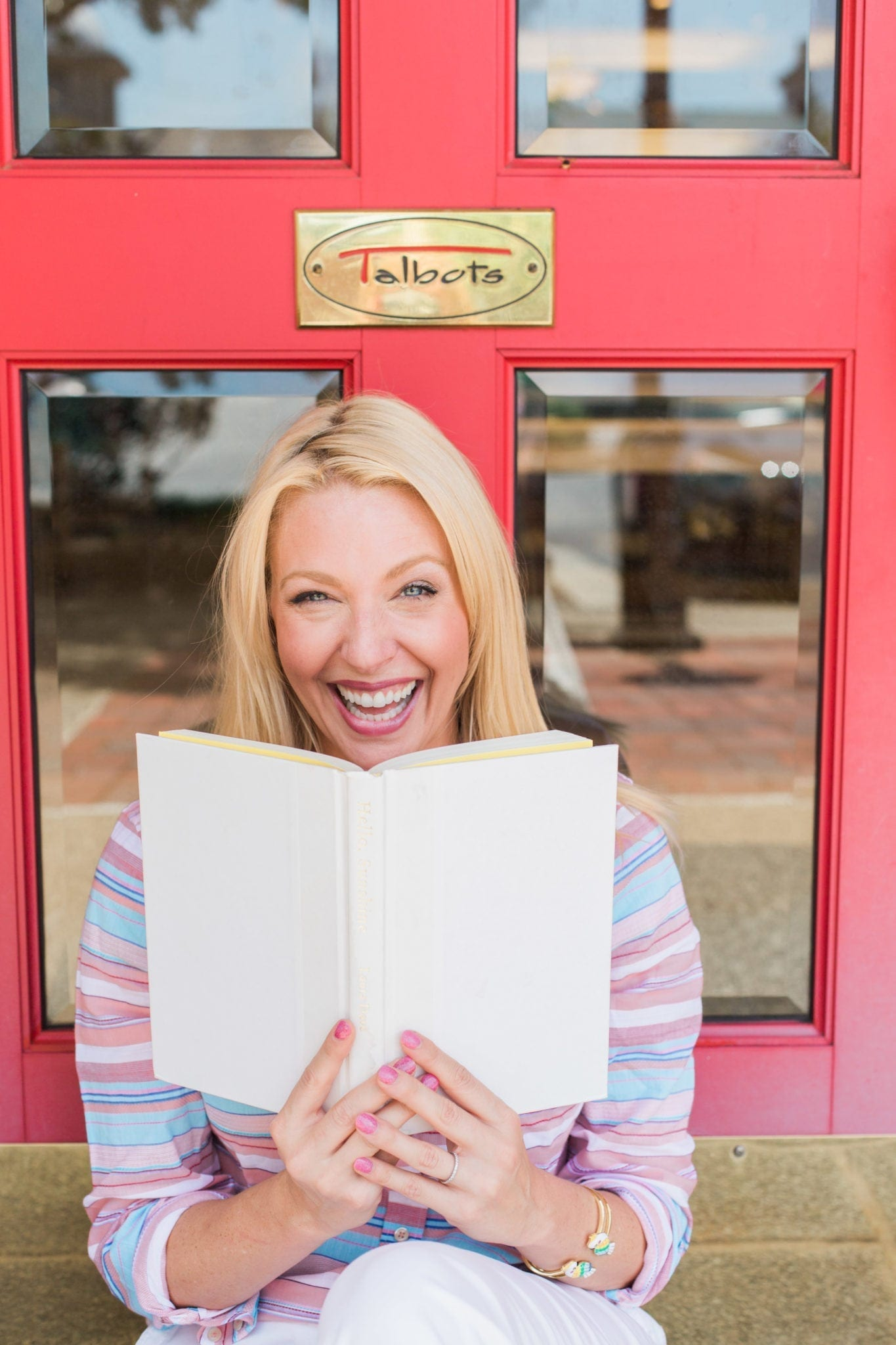 Talbots Book club event 2018. Lifestyle blogger, bluegraygal, with the book by Laura Dave.
