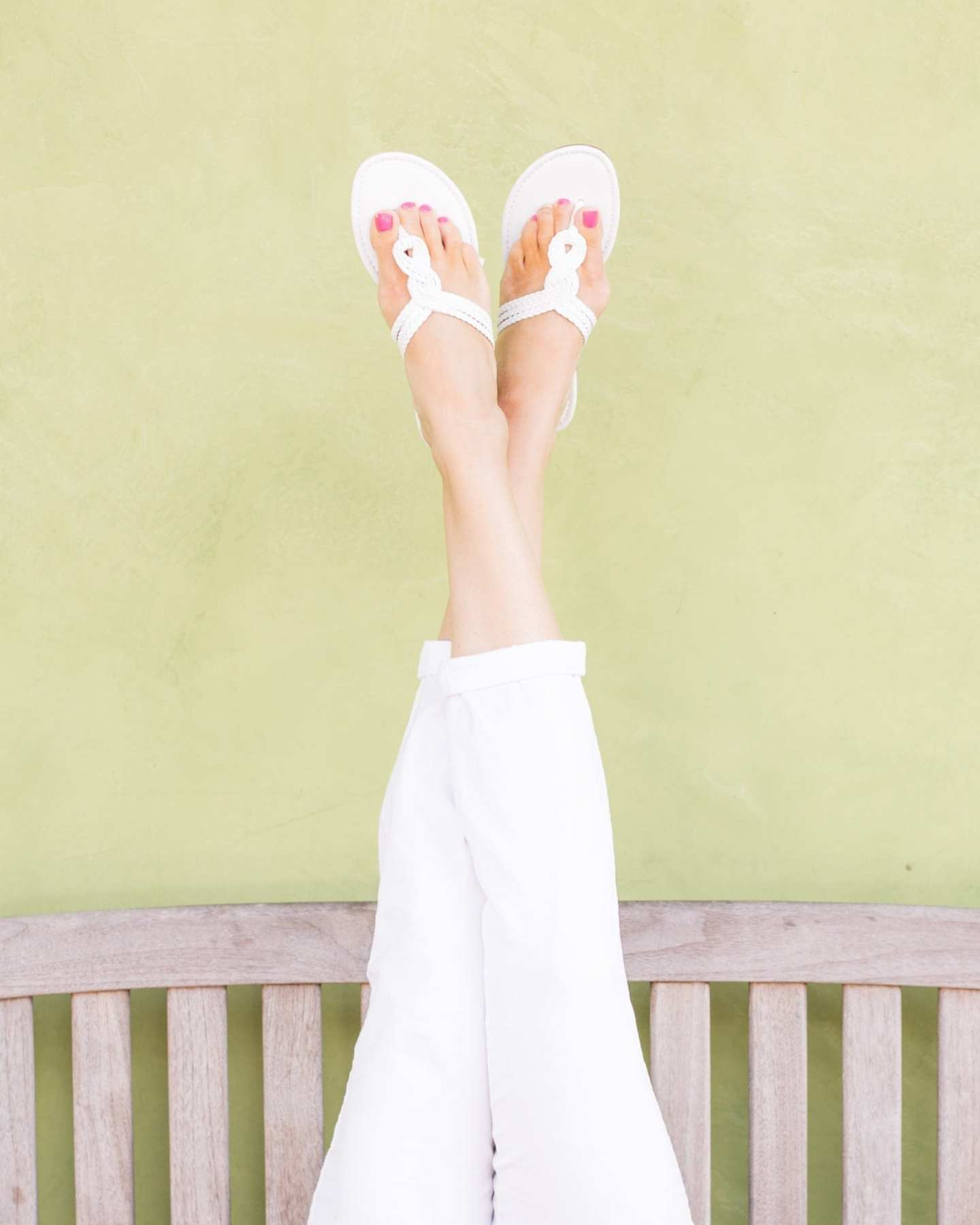 White braided sandals on sale. How to wear white shoes with white pants.