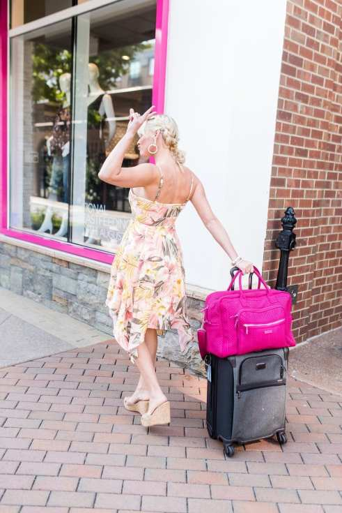 Atlanta blogger bluegraygal with Vera Bradley giveaway. Tumi rolling luggage with Weekender Bag on top. Braid hairstyle updo.