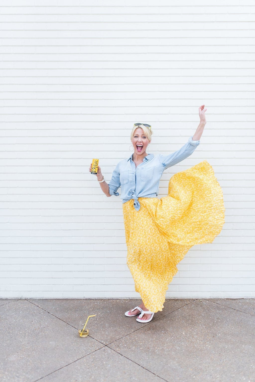 Yellow Joie skirt on sale. Maxi flowy skirt and chambray shirt with white sandals.