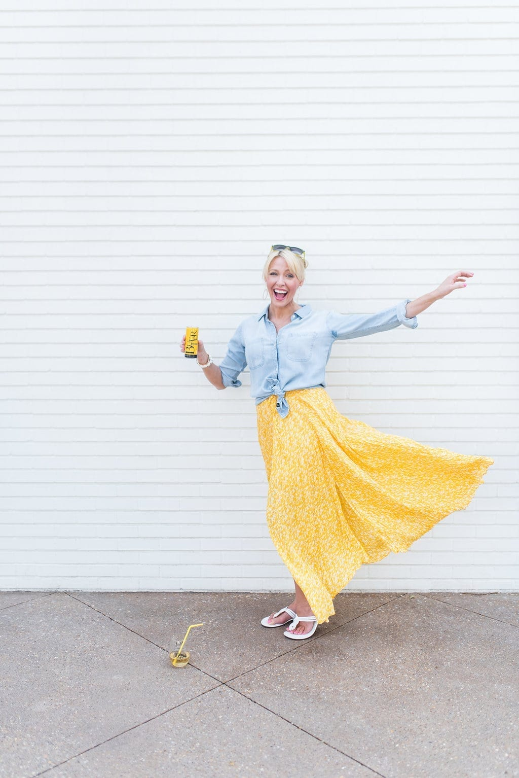 Yellow maxi skirt. Summer skirt. How to wear yellow with chambray.