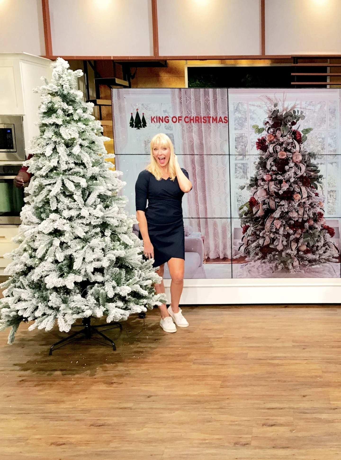 Atlanta Blogger Kelly Page on Atlanta and Company. TV segment about artificial tree company King of Christmas.