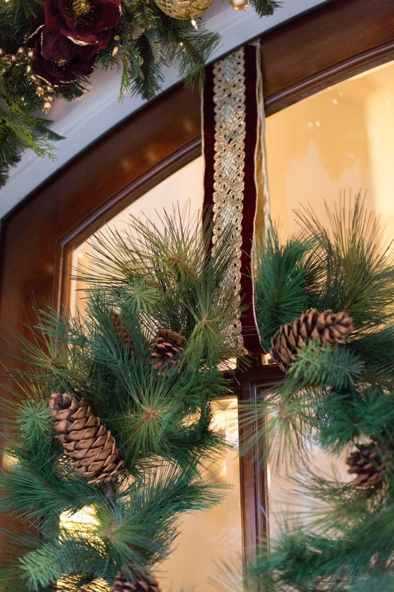 Hanging Wreath on Tall Door