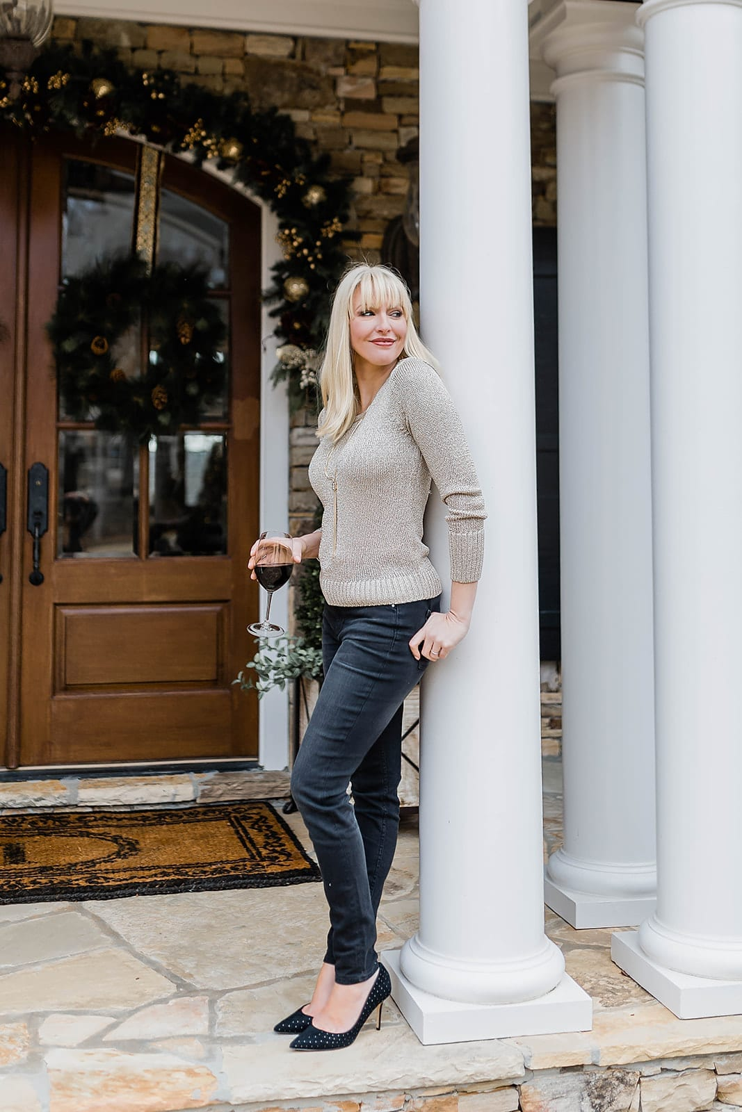 Need to look dressy but still casual? This metallic gold. knit sweater pairs perfectly with jeans. Add a shoe with little sparkles and bam - you're good to go! Entire outfit on sale!