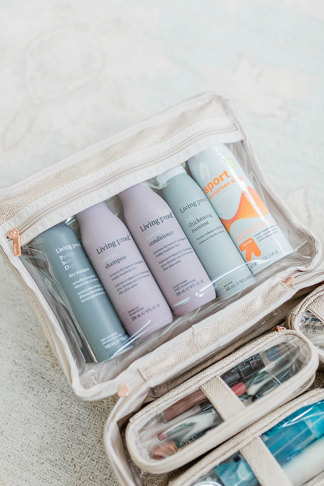 How to store full size shampoo bottles when you travel so that they don't spill!