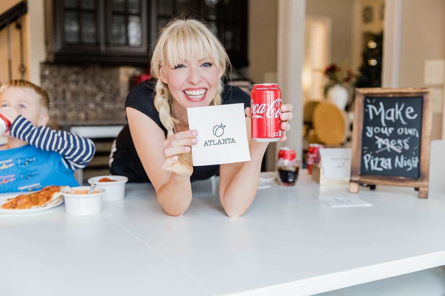 Kelly Page, lifestyle blogger, bluegraygal celebrates the Super Bowl Atlanta with a party with Coca-Cola! Throw an easy family party for the Big Game with your kids!