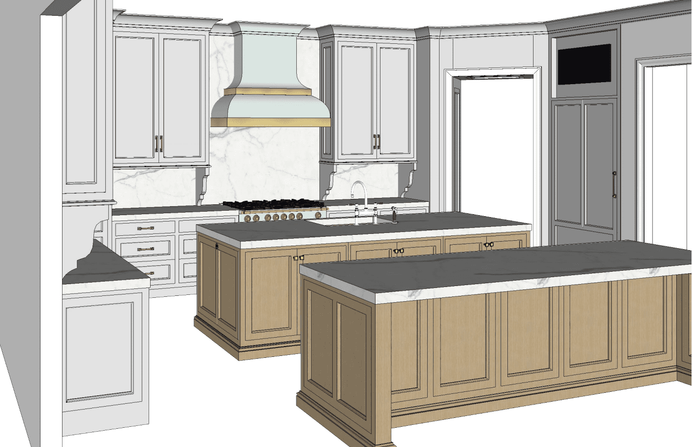 Kitchen sketch with two islands and custom blue hood.