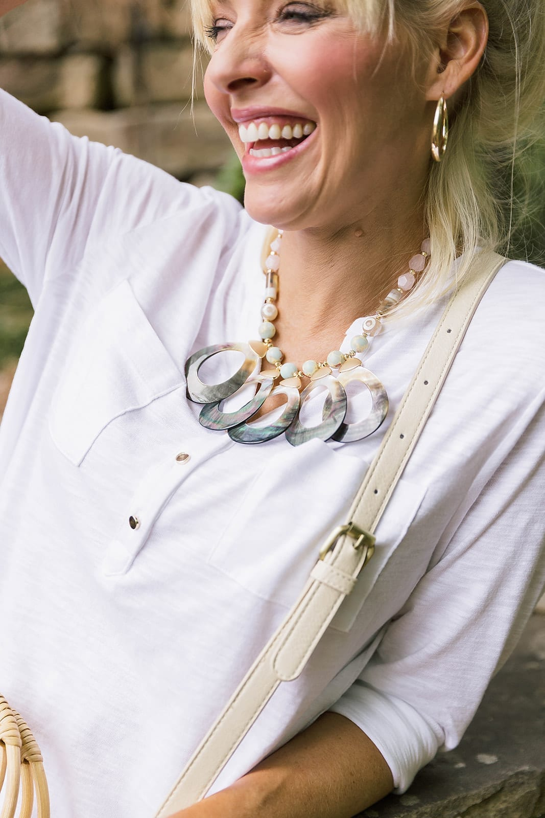 Anthropologie Necklace on sale - great statement necklace with green and ivory bone. Not heavy to wear.